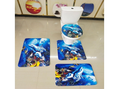 4pcs bath set -toilet lid bath mat pedestal toilet mat bathrrom door mat